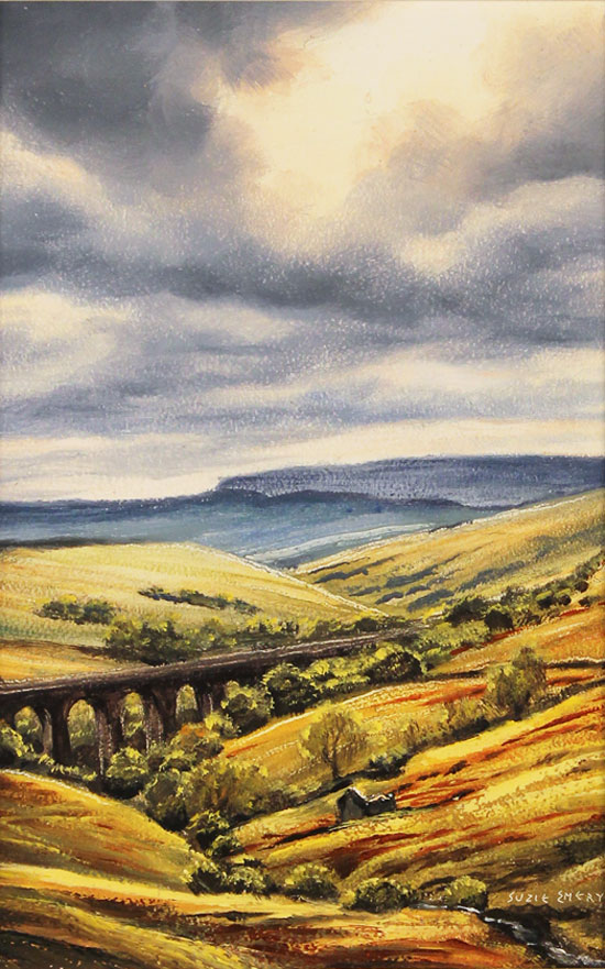 Suzie Emery, Original acrylic painting on board, Dent Head Viaduct No frame image. Click to enlarge