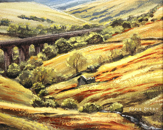 Suzie Emery, Original acrylic painting on board, Dent Head Viaduct Signature image. Click to enlarge