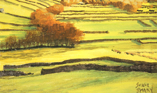 Suzie Emery, Original acrylic painting on board, Swaledale