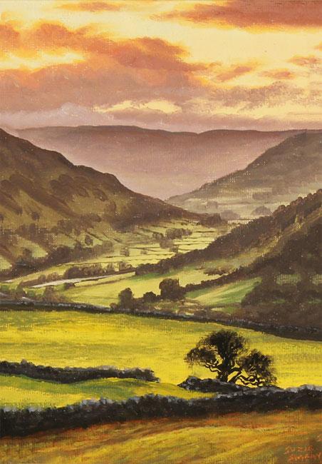 Suzie Emery, Original acrylic painting on board, Swaledale Sunset Without frame image. Click to enlarge