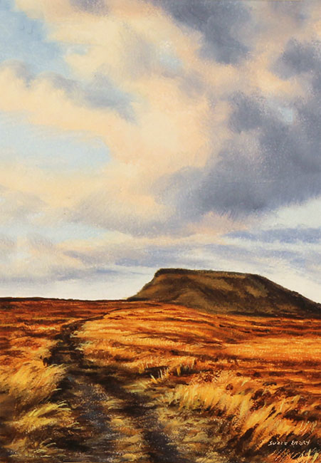 Suzie Emery, Original acrylic painting on board, Ingleborough, Yorkshire Dales No frame image. Click to enlarge