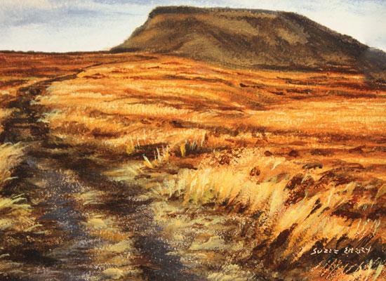Suzie Emery, Original acrylic painting on board, Ingleborough, Yorkshire Dales Signature image. Click to enlarge