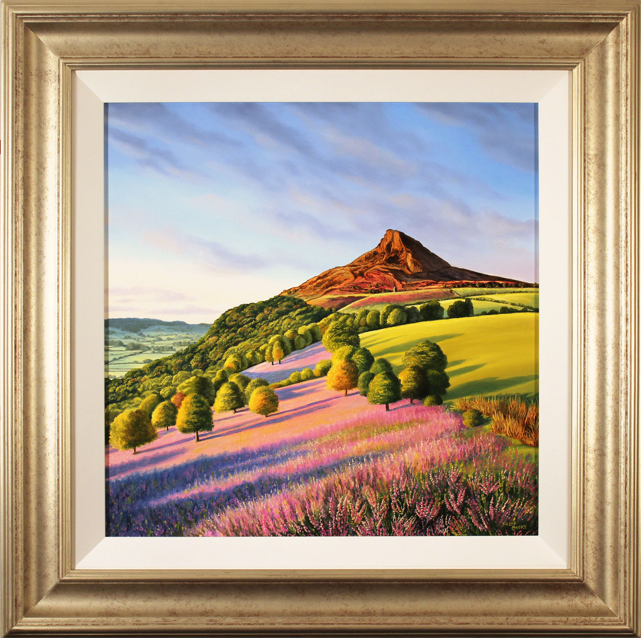 Suzie Emery, Original acrylic painting on board, Roseberry Topping. Click to enlarge