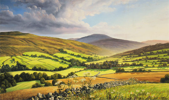 Suzie Emery, Original acrylic painting on board, Swaledale, Yorkshire Without frame image. Click to enlarge