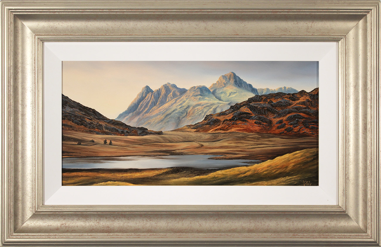 Suzie Emery, Original acrylic painting on board, Langdale Pikes, Blea Tarn , click to enlarge