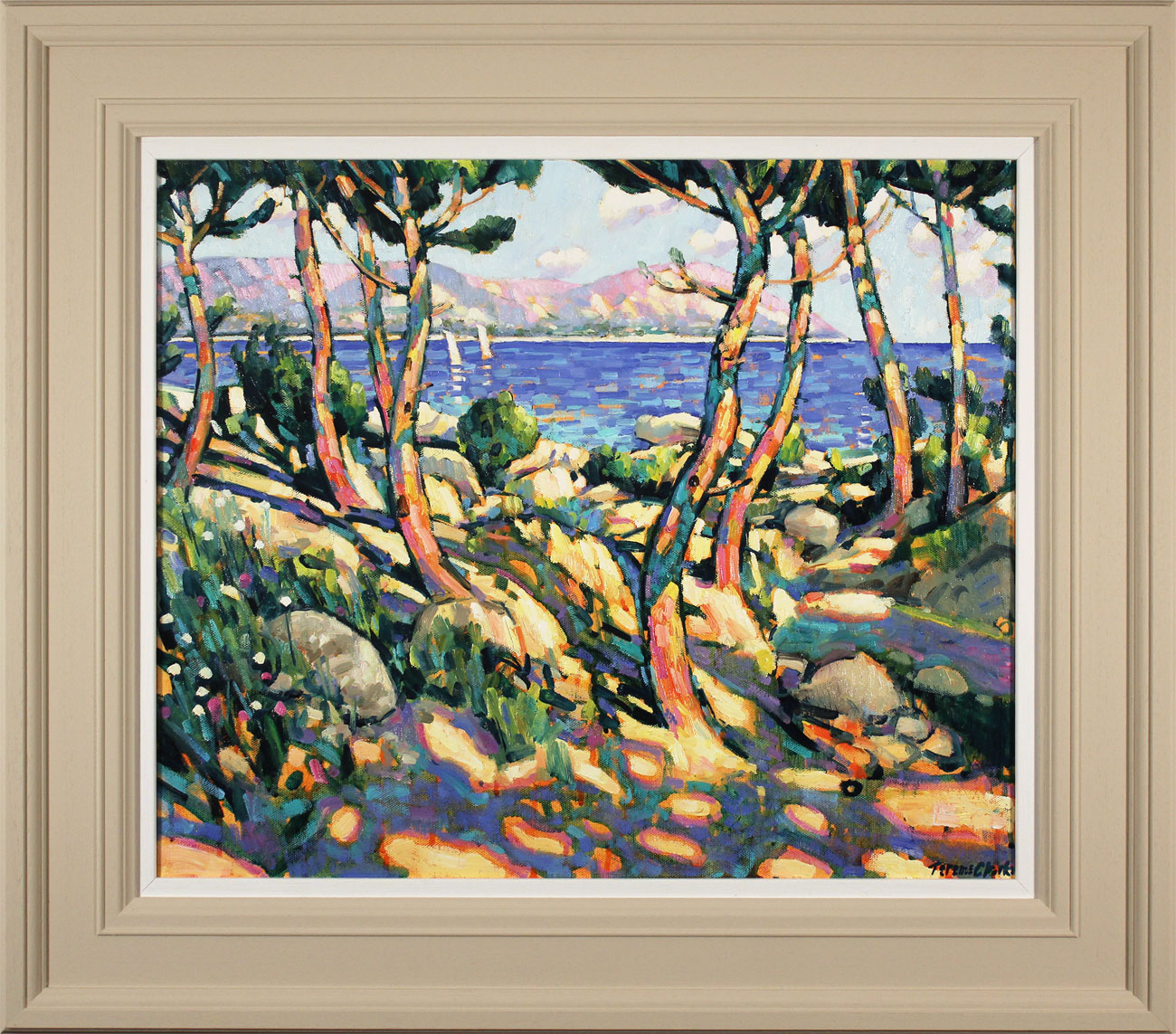 Terence Clarke, Original oil painting on canvas, Rocks and Pines, Cap Ferrat, click to enlarge