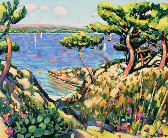 Terence Clarke, Original oil painting on canvas, Island Pines near La Ciotat Without frame image. Click to enlarge
