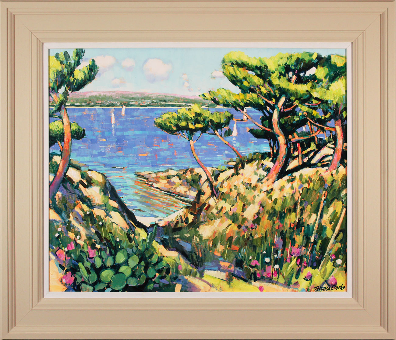 Terence Clarke, Original oil painting on canvas, Island Pines near La Ciotat. Click to enlarge