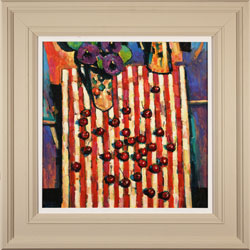 Terence Clarke, Original acrylic painting on canvas, Pansies and Cherries