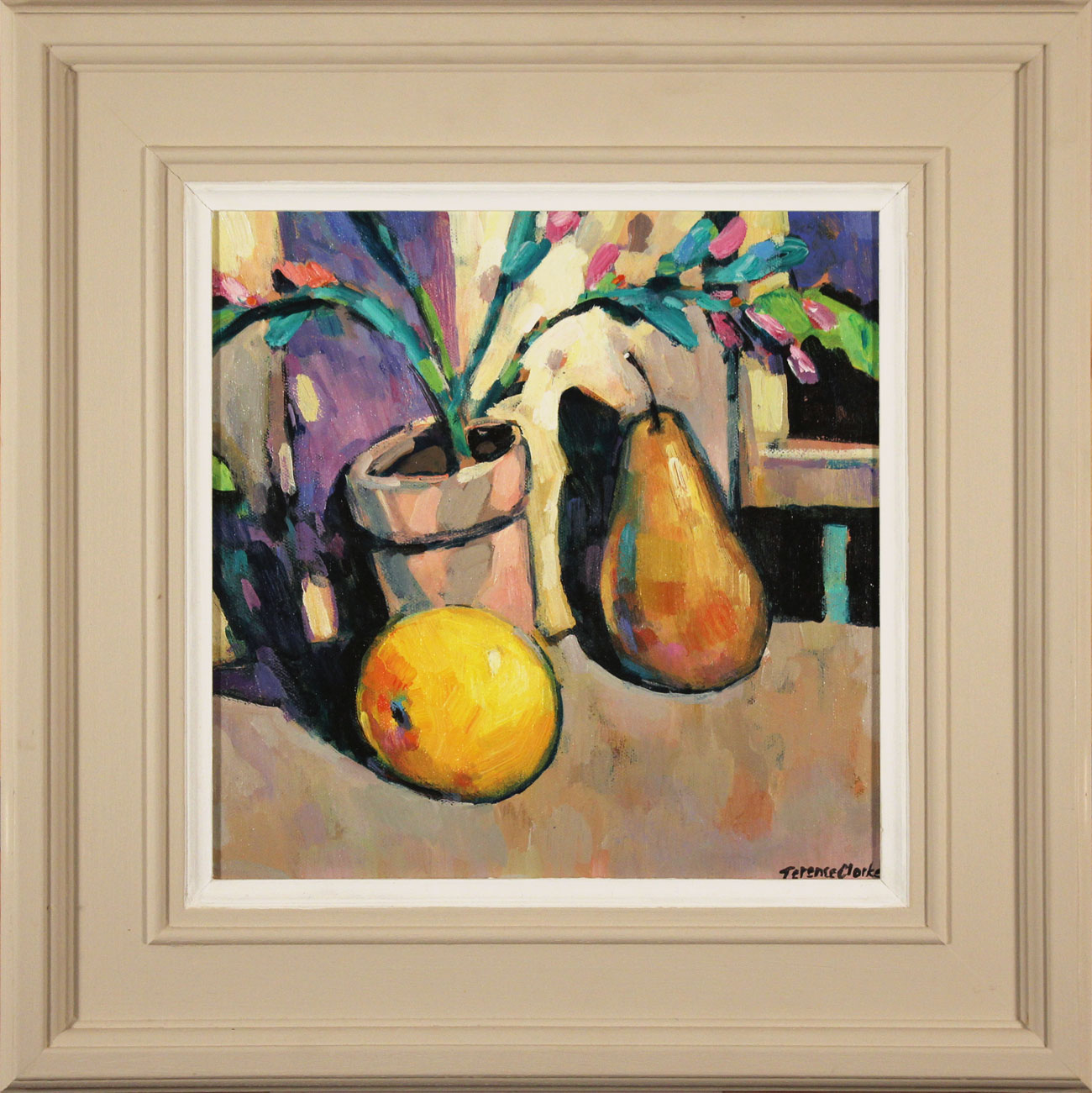 Terence Clarke, Original acrylic painting on canvas, The Christmas Cactus and Pear, click to enlarge