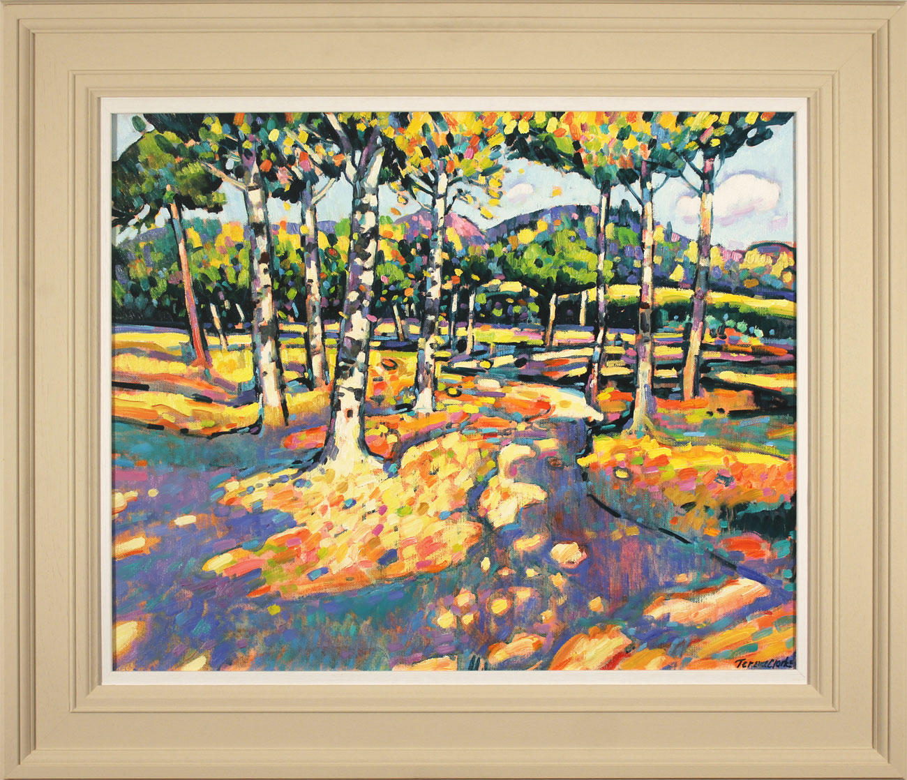 Terence Clarke, Original oil painting on canvas, Falling Leaves, Autumn. Click to enlarge
