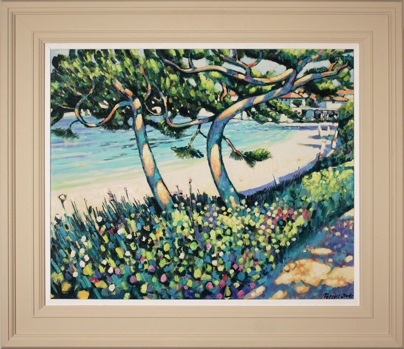 Terence Clarke, Original acrylic painting on canvas, Pine Shadows, Cap Ferrat, click to enlarge