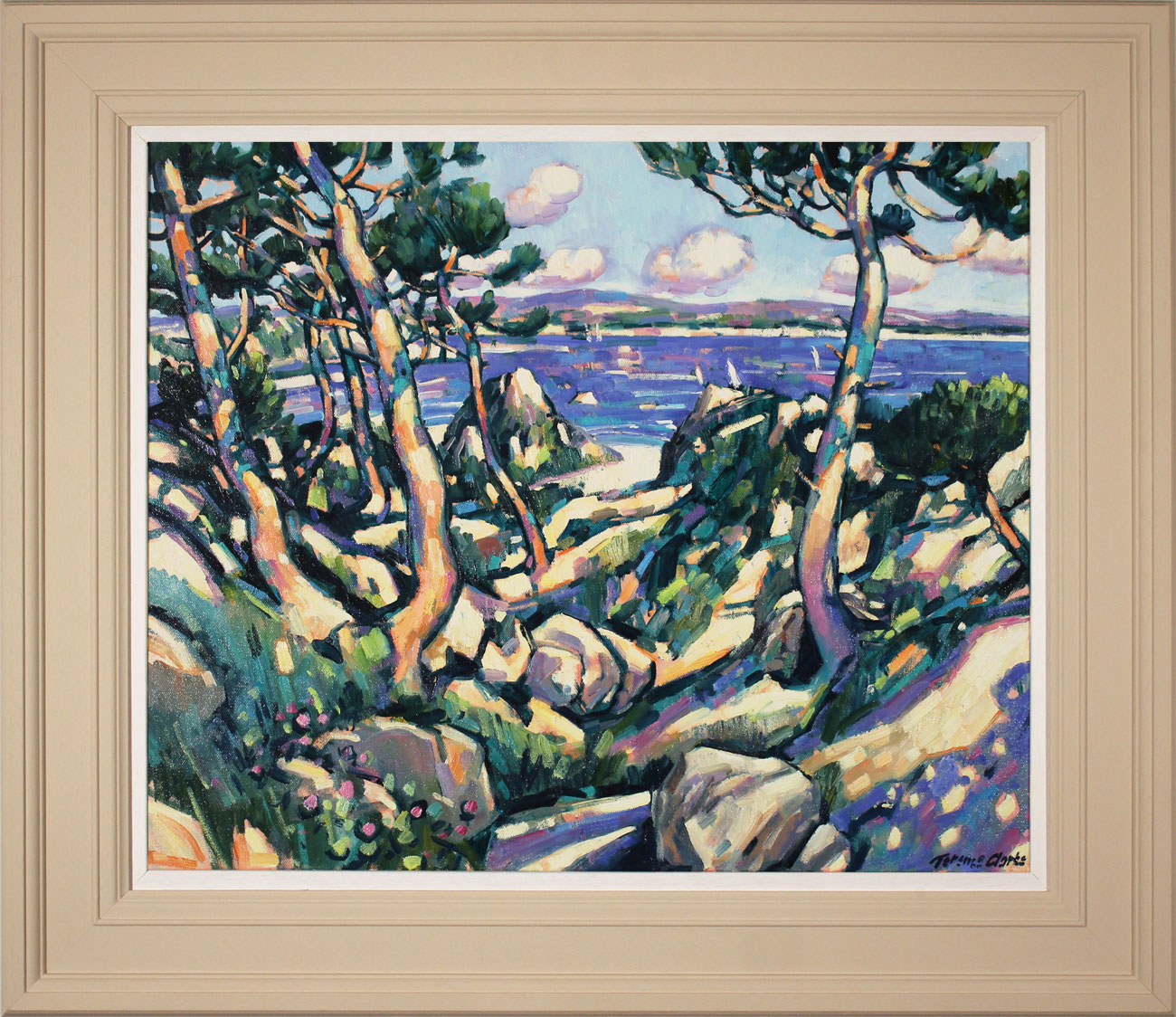 Terence Clarke, Original oil painting on canvas, Wild Pines near Theoule sur Mer, click to enlarge