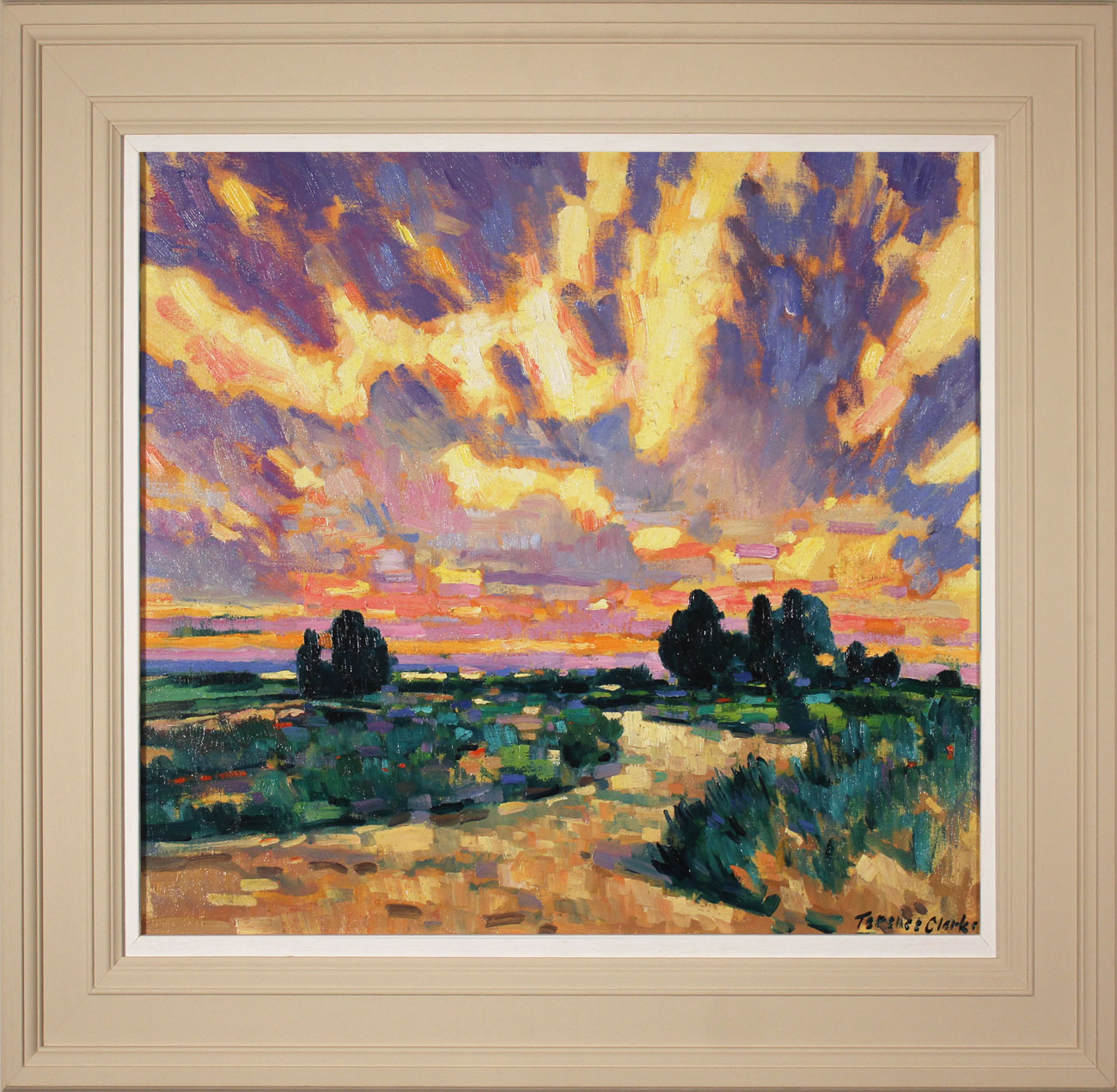 Terence Clarke, Original oil painting on canvas, Delfland Sunset, click to enlarge