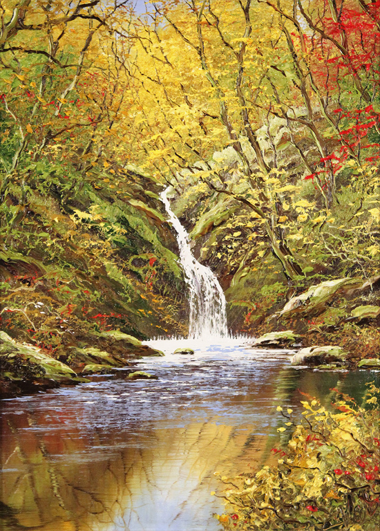 Terry Evans, Original oil painting on canvas, Janet's Foss, Yorkshire Dales