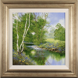 Terry Evans, Original oil painting on canvas, Silver Birches by the Beck