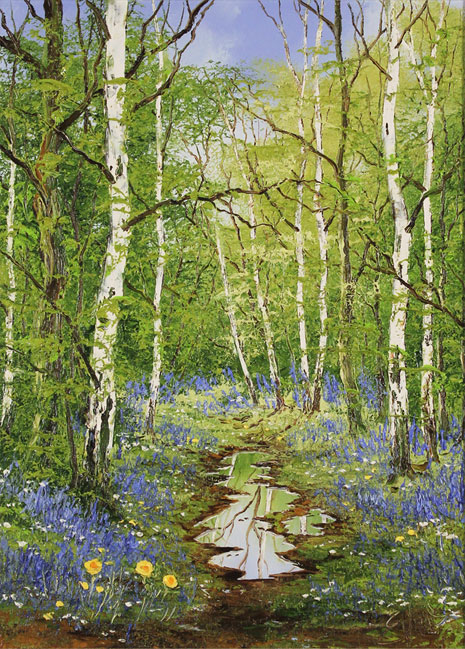Terry Evans, Original oil painting on canvas, Bluebell Wood No frame image. Click to enlarge