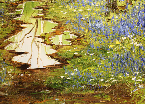 Terry Evans, Original oil painting on canvas, Bluebell Wood Signature image. Click to enlarge