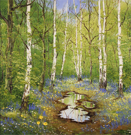 Terry Evans, Original oil painting on panel, Birch and Bluebell No frame image. Click to enlarge