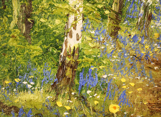 Terry Evans, Original oil painting on panel, Birch and Bluebell Signature image. Click to enlarge