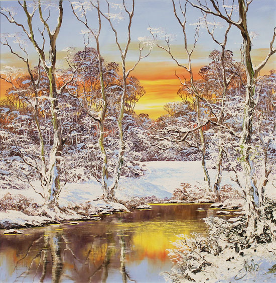 Terry Evans, Original oil painting on canvas, Winter Walk, Yorkshire Dales No frame image. Click to enlarge