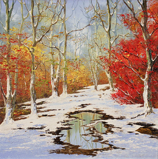 Terry Evans, Original oil painting on canvas, First Snowfall, Yorkshire Dales No frame image. Click to enlarge