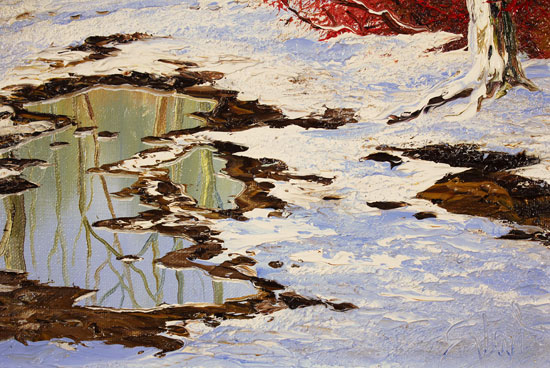 Terry Evans, Original oil painting on canvas, First Snowfall, Yorkshire Dales Signature image. Click to enlarge