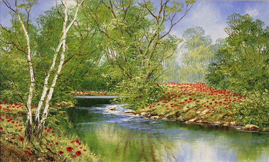Terry Evans, Original oil painting on canvas, Woodland Poppies Without frame image. Click to enlarge