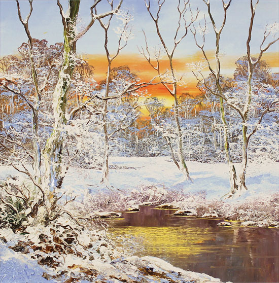 Terry Evans, Original oil painting on canvas, Winter Wood No frame image. Click to enlarge