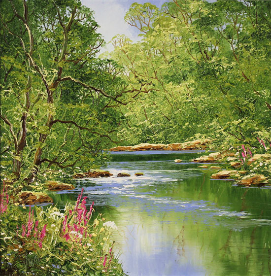 Terry Evans, Original oil painting on canvas, Woodland Stream Without frame image. Click to enlarge