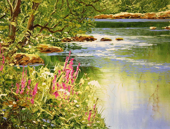 Terry Evans, Original oil painting on canvas, Woodland Stream Signature image. Click to enlarge