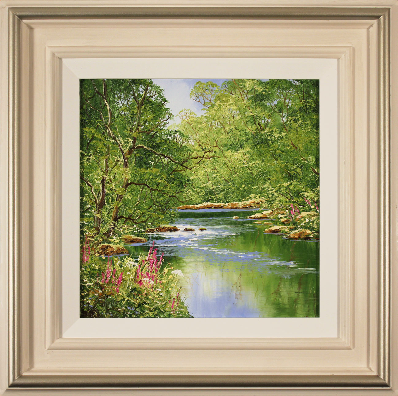 Terry Evans, Original oil painting on canvas, Woodland Stream. Click to enlarge