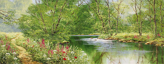 Terry Evans, Original oil painting on canvas, Woodland Walk No frame image. Click to enlarge