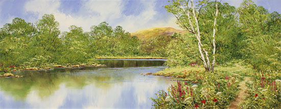 Terry Evans, Original oil painting on canvas, Waterside Walk Without frame image. Click to enlarge