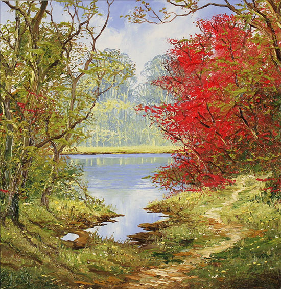 Terry Evans, Original oil painting on canvas, Early Autumn Wood Without frame image. Click to enlarge
