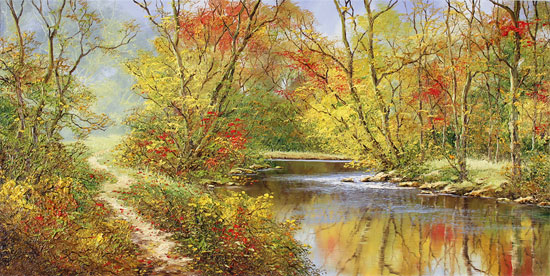 Terry Evans, Original oil painting on canvas, Autumn Reflections Without frame image. Click to enlarge