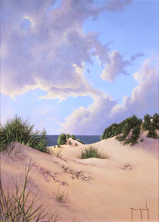 Terry Grundy, Original oil painting on panel, Sand, Sea and Sky Without frame image. Click to enlarge