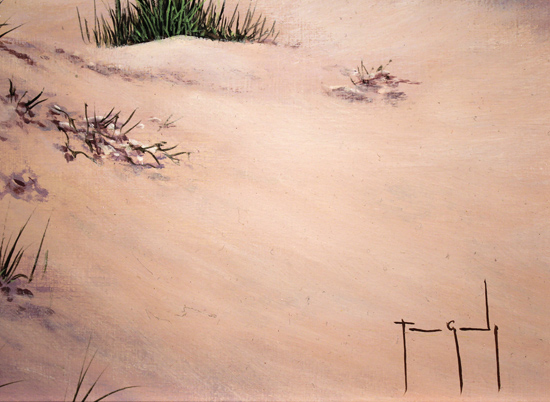 Terry Grundy, Original oil painting on panel, Sand, Sea and Sky Signature image. Click to enlarge