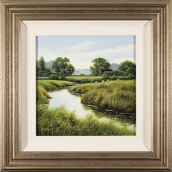 Terry Grundy, Original oil painting on panel, River Swale, North Yorkshire