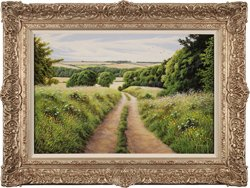 Terry Grundy, Original oil painting on panel, Summer in the Yorkshire Wolds
