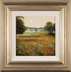 Terry Grundy, Poppy Field at Dusk, Original oil painting on panel