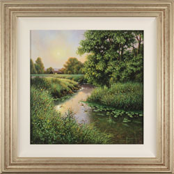 Terry Grundy, Original oil painting on panel, Midsummer by the River