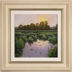 Terry Grundy, Summer Sunset, Original oil painting on panel