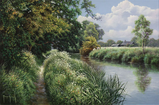 Terry Grundy, Original oil painting on panel, Riverbank Farm No frame image. Click to enlarge