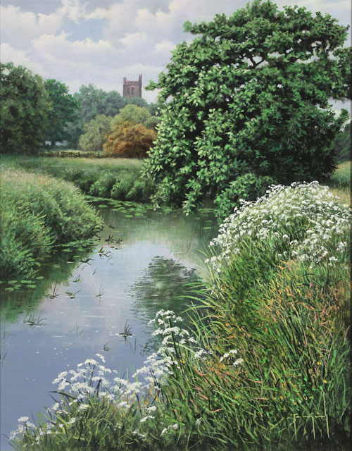 Terry Grundy, Original oil painting on panel, Church Bells by the River