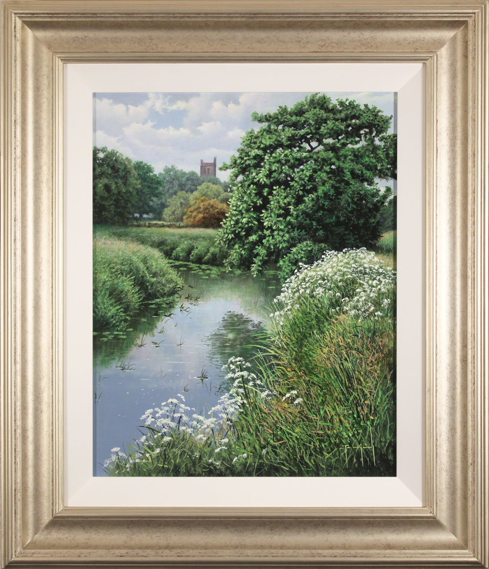 Terry Grundy, Original oil painting on panel, Church Bells by the River. Click to enlarge