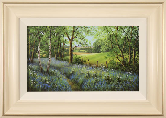 Terry Grundy, Original oil painting on panel, Woodland Bluebells