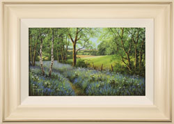 Terry Grundy, Woodland Bluebells, Original oil painting on panel