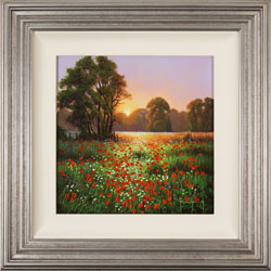 Terry Grundy, Original oil painting on panel, Poppy Field at Sunset Large image. Click to enlarge