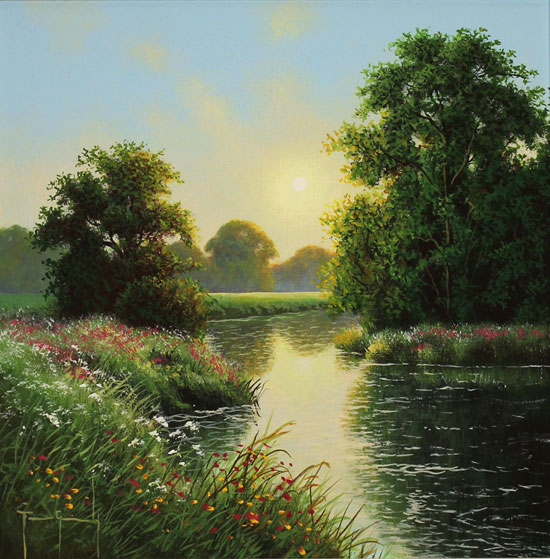 Terry Grundy, Original oil painting on panel, Morning Calm No frame image. Click to enlarge